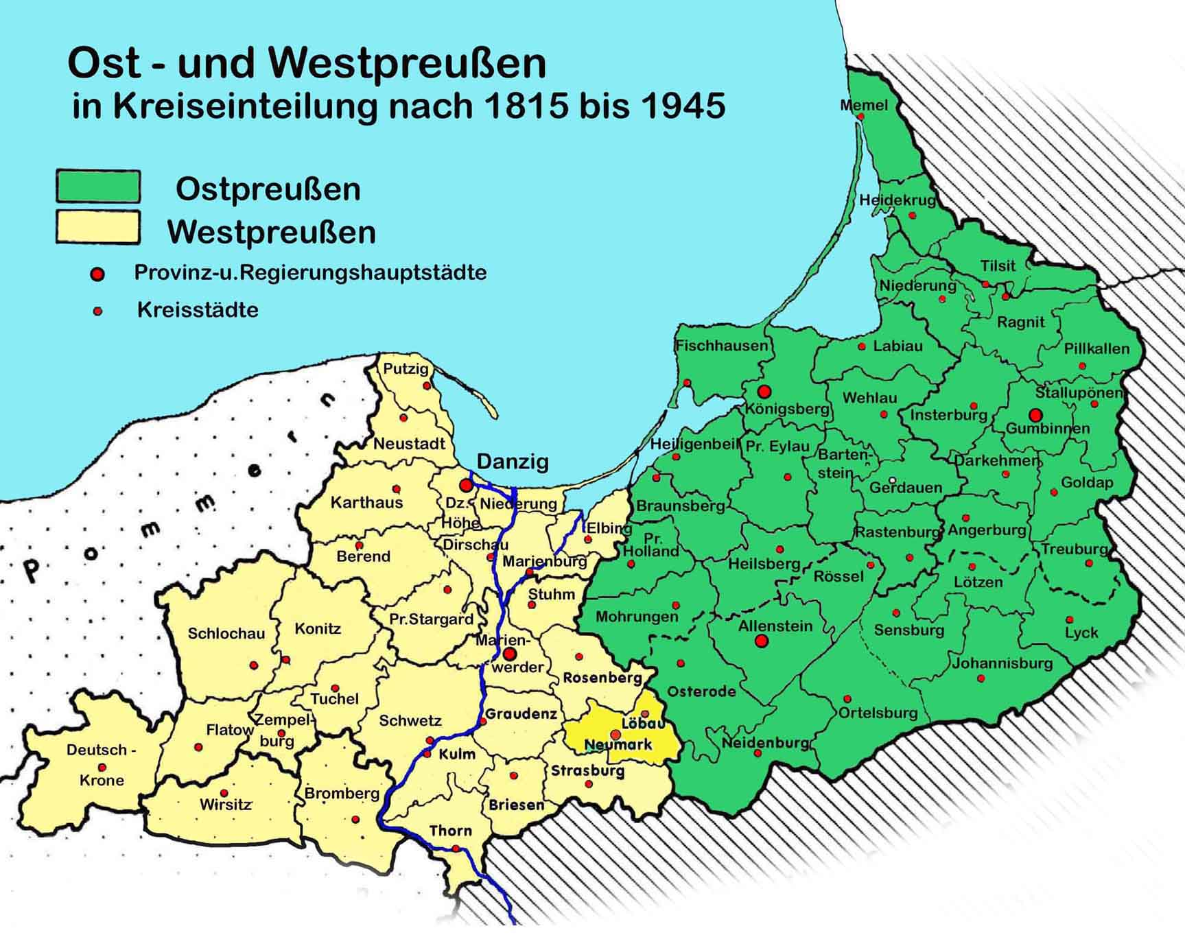 Karte Ostpreußen.Statistik